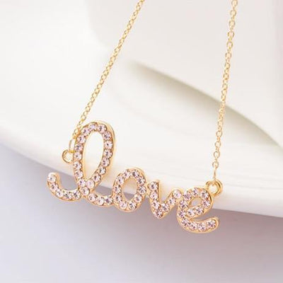 Crystals Gold Love Necklaces - gonatag