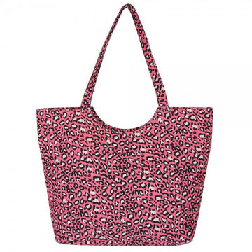 Neon Pink Leopard Beach Bag