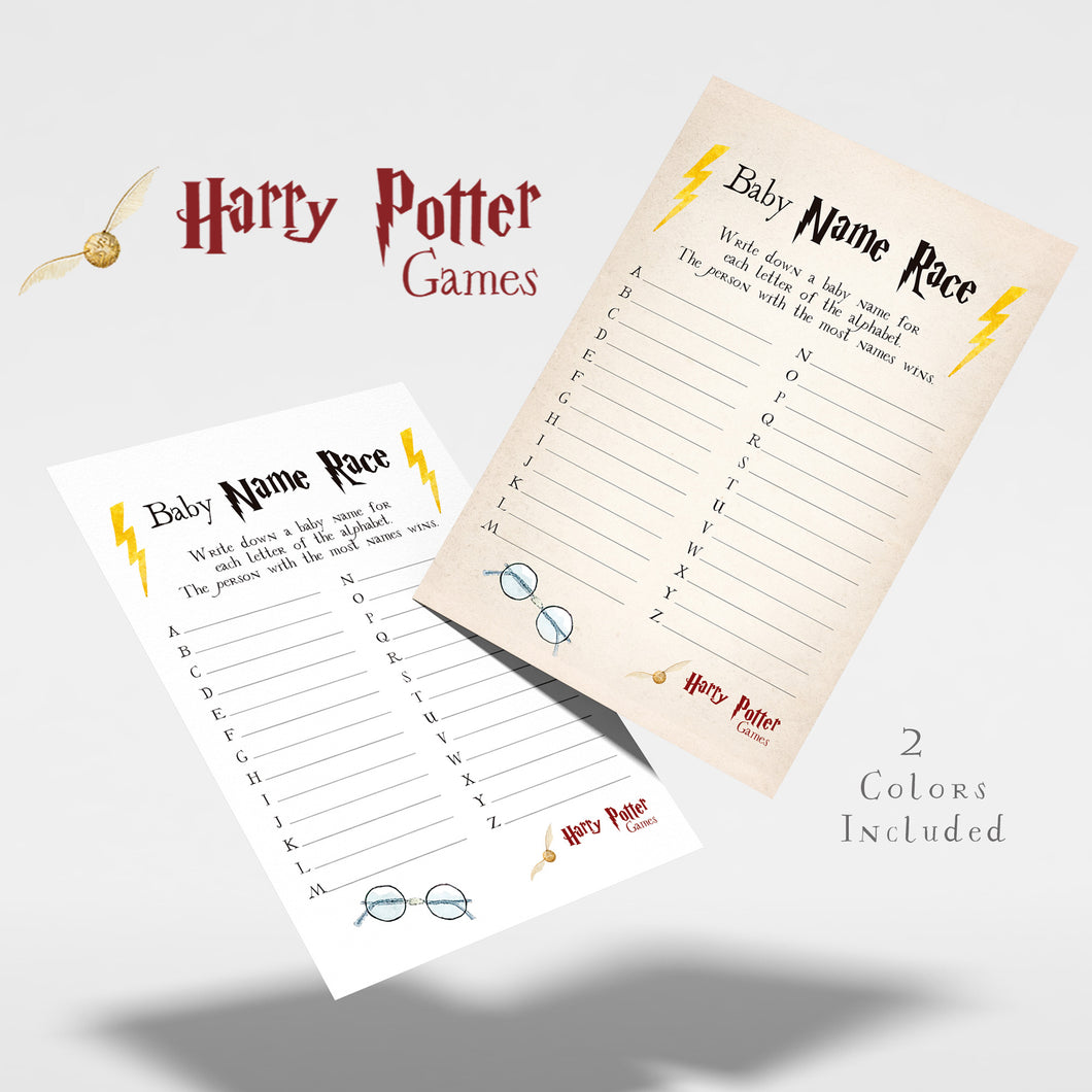 Baby Name Race | Harry Potter Game Printable
