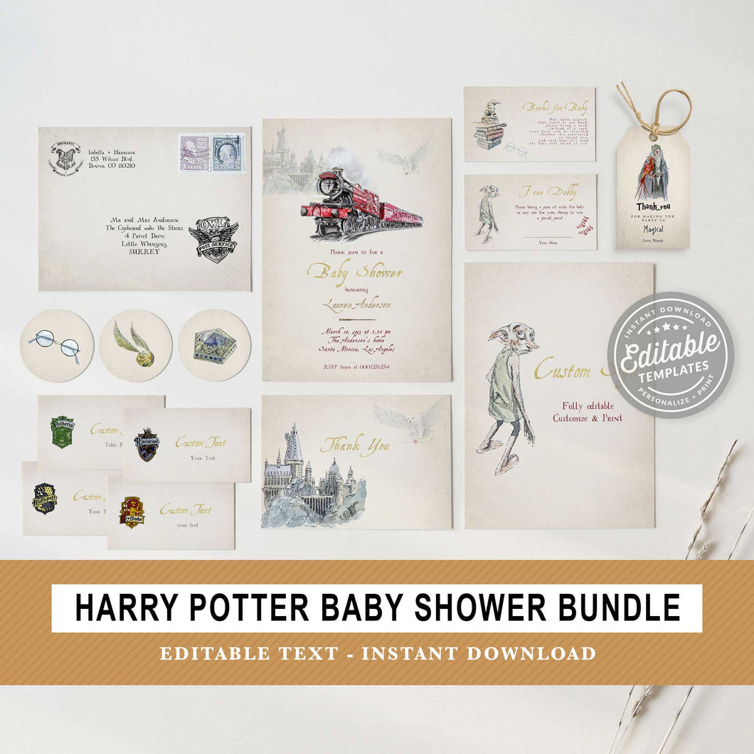 Harry Potter Baby Shower Bundle | Editable Text