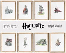 Load image into Gallery viewer, Hogwarts Wall Art Decor Posters | Set of 8 Harry Potter Digital
