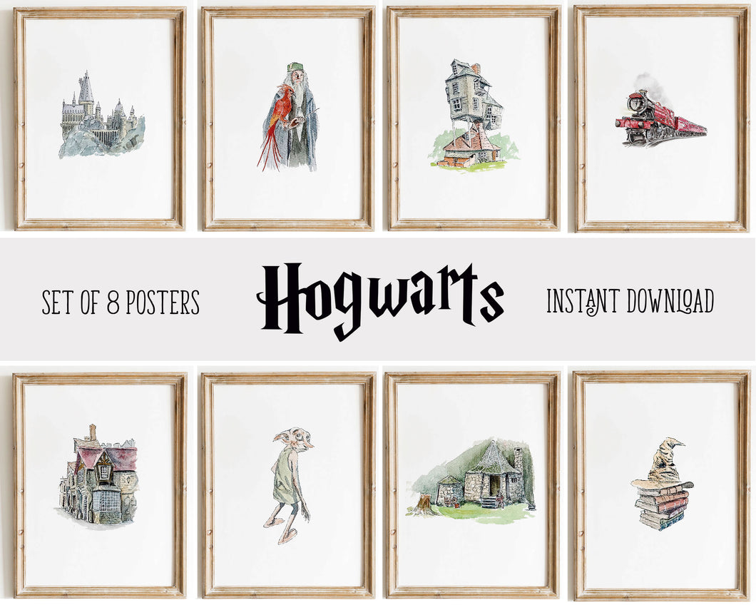 Hogwarts Wall Art Decor Posters | Set of 8 Harry Potter Digital