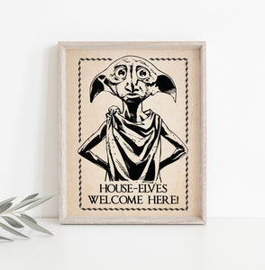House Elves Welcome Here | Harry Potter Poster Digital