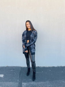 Black Plaid Cardigan