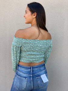 Smocked Polka Dot Crop Top