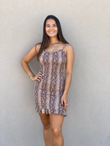Snakeskin Mini Bodycon Dress