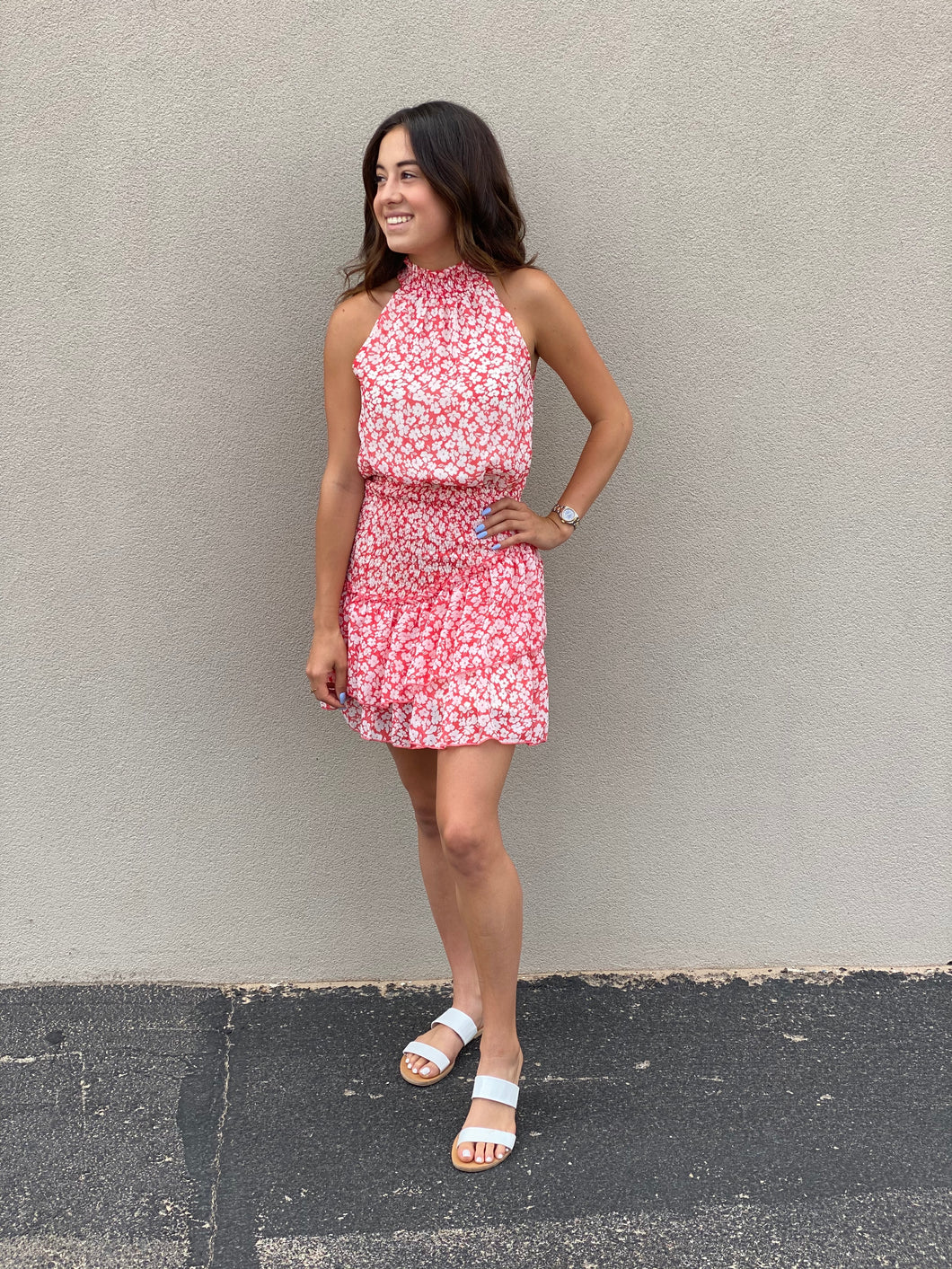 Floral Smocked High Neck Dress