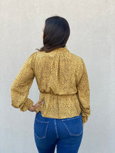 Load image into Gallery viewer, Mustard Cheetah Wrap Top