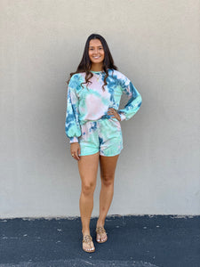 Blue/Green Long Sleeve Tie Dye Set