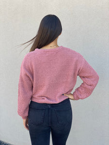 Rose Knit Crop Sweater