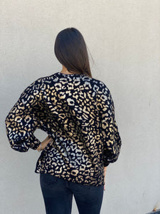 High Shine Leopard Sweater- Black