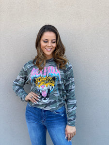 Camo Rock & Roll Cropped Pullover