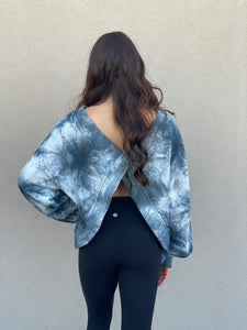 Tie Dye Open Back Pullover- Blue