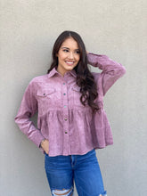Load image into Gallery viewer, Lilac Button Down Babydoll Shirt