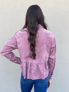 Lilac Button Down Babydoll Shirt