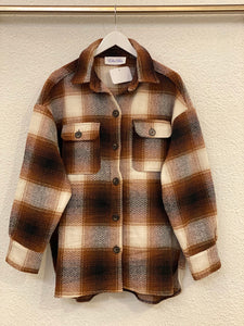 Flannel Plaid Shacket- Ginger