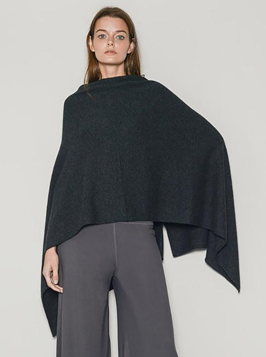 Cashmere Poncho Charcoal