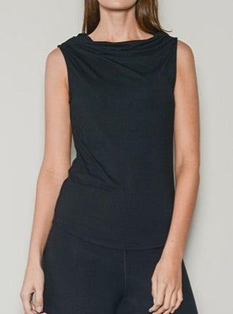 black sleeveless relaxed neck top