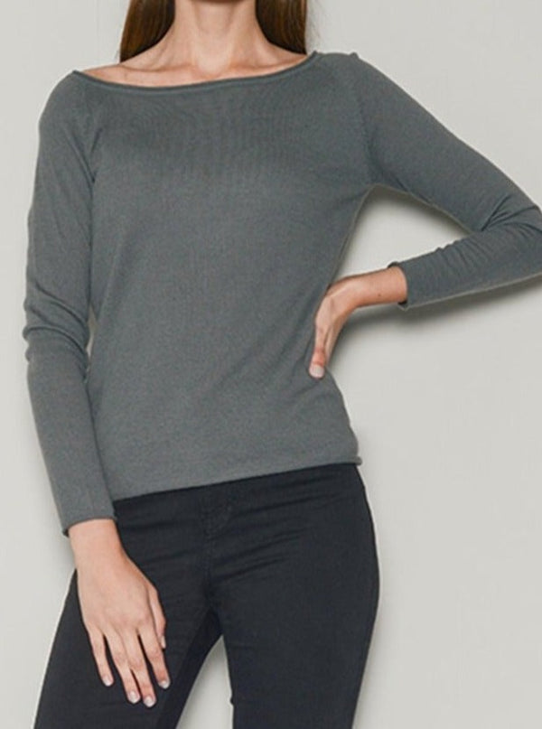 cashmere wide neck grey top