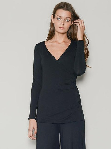 loungewear black crossover top