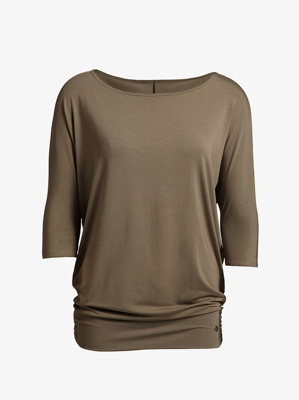 relaxed khaki jersey top
