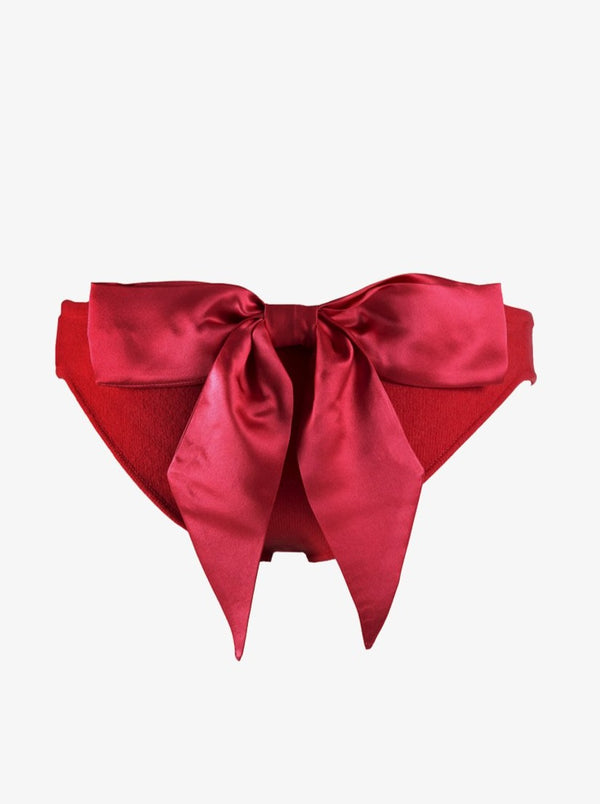 red cashmere knickers with bow