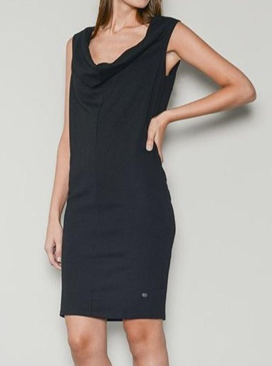 sorrento jersey drape neck dress black