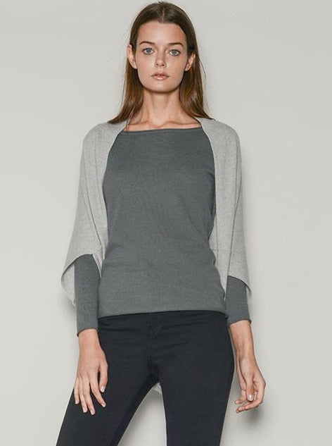 grey cashmere wrap / shrug top