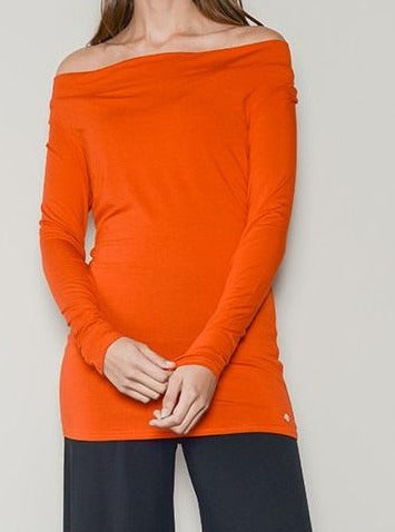 orange drape neck jersey top