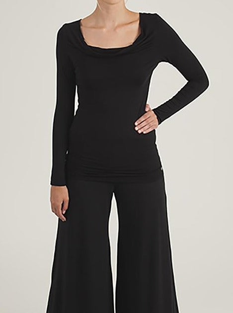 black drape neck jersey top