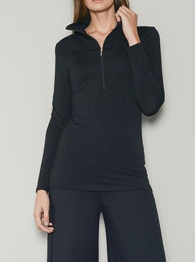 black loungewear zip neck top