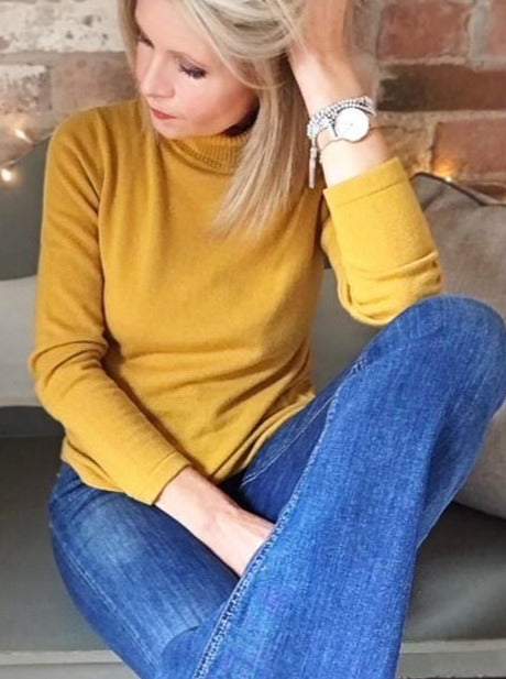 haystack yellow cashmere roll neck sweater