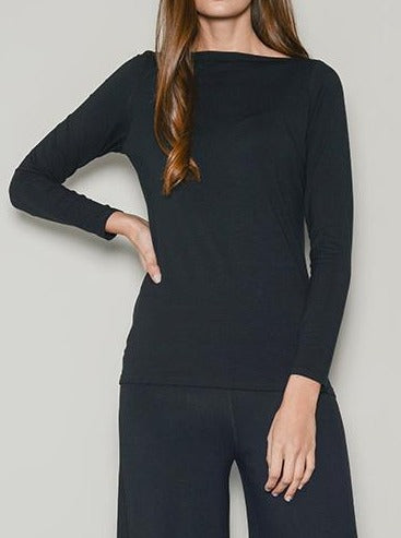 long sleeved slash neck black