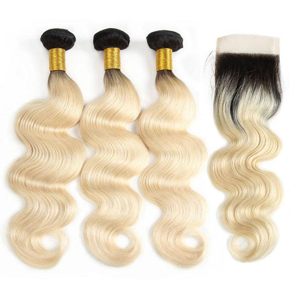 1B/613 Body Wave lot de 3 +Closure