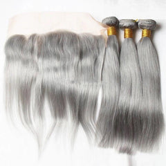 Straight Gris Lot de 3+Lace Frontale