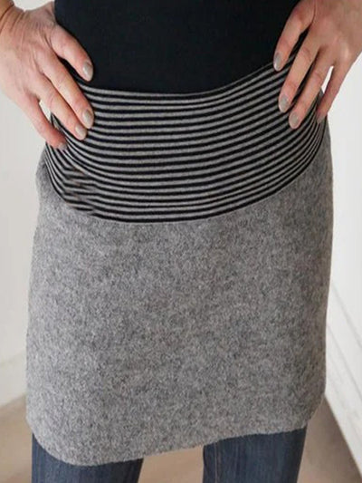 Light Gray Cotton-Blend Casual Skirts