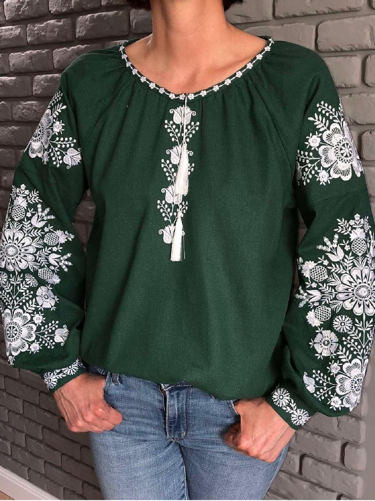 Casual Long Sleeve Crew Neck Printed Tops