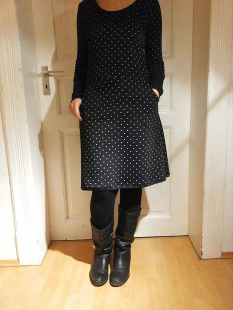 Vintage casual polka dot long sleeve dress