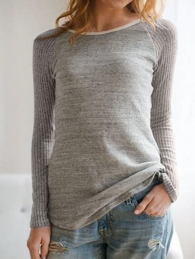 Light Gray Crew Neck Cotton Long Sleeve Shirts & Tops
