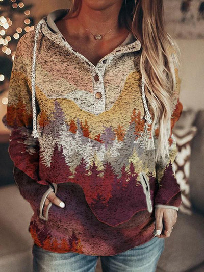 Women's autumn and winter long mountain print casual pocket hooded sweatshirt