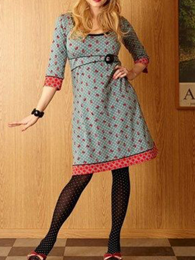 Vintage Plus Size Long Sleeve Printed Casual Dresses