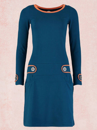 Blue Plain Vintage Color-Block Crew Neck Dresses