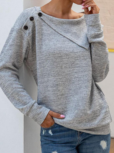 Gray Solid Shawl Collar Casual Shirts & Tops