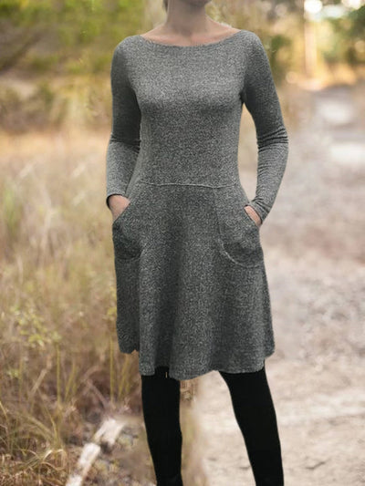 Pockets Solid Long Sleeve Casual Dresses