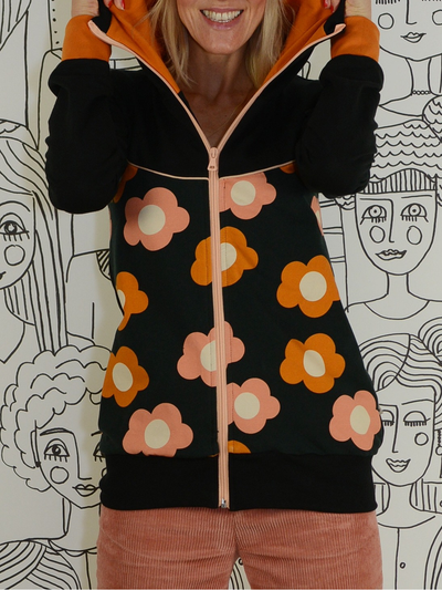 Floral-print Hoodie Casual Outerwear