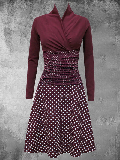 Polka Dots Cotton-Blend V Neck Casual Dresses