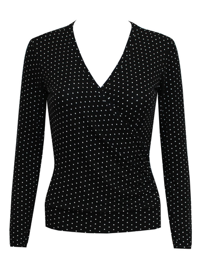 Polka Dots V Neck Casual Shirts & Tops