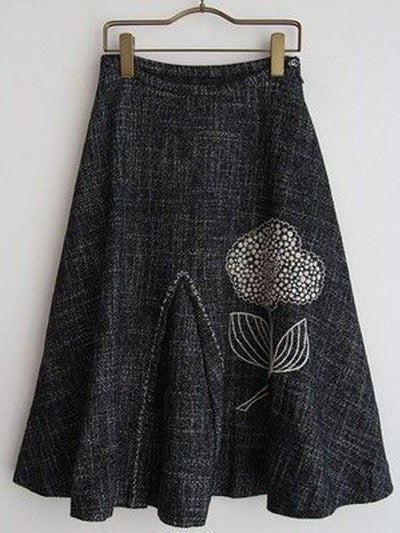 Gray Cotton-Blend Casual Skirts