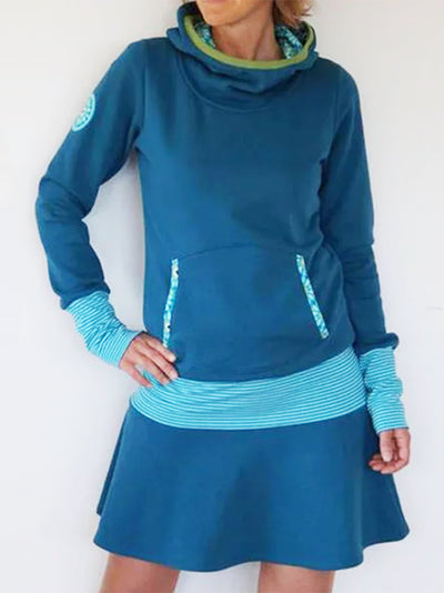 Blue Striped Hoodie Paneled Sweat Dresses