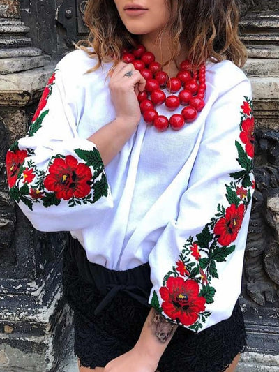Casual Long Sleeve Crew Neck Floral Tops